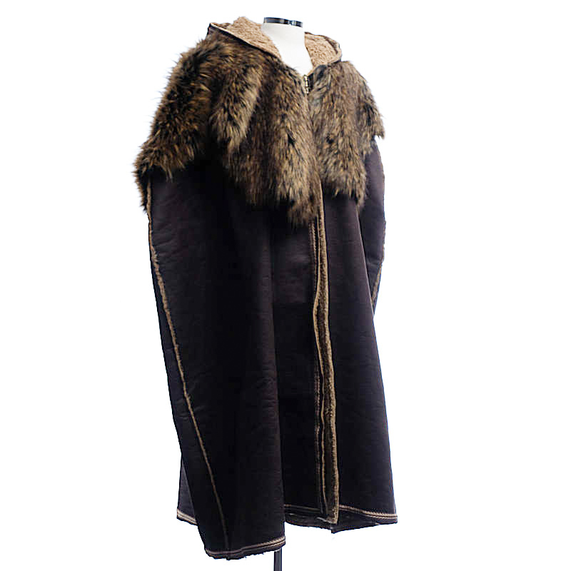 Leather Cloak with Fur Collar - Brown