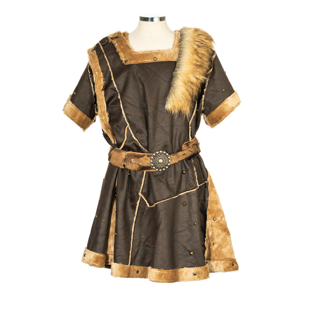 LARP Jacket/Tunic Faux Leather with Mantle - Brown
