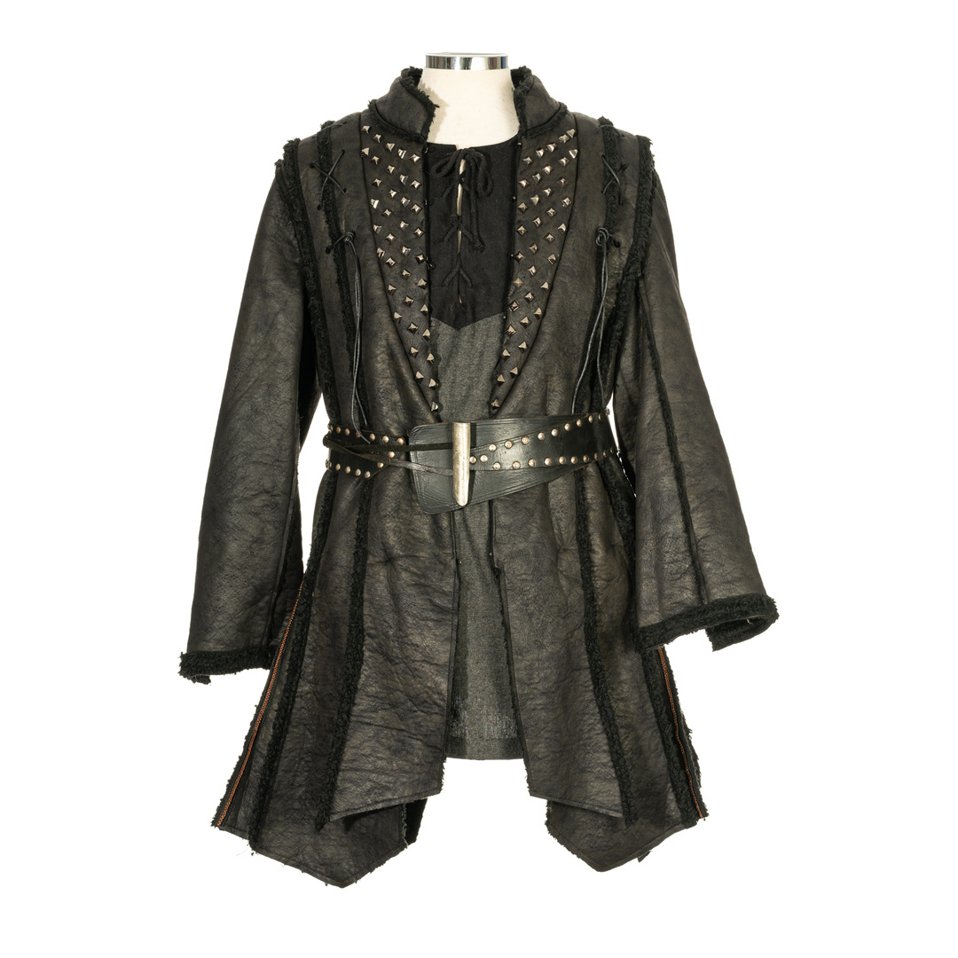 Panelled Leather Coat with Studs and Fur Lining -Black